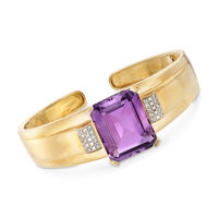 25.00 Carat Amethyst and .50 ct. t.w. Diamond Bangle Bracelet in 14kt Yellow..