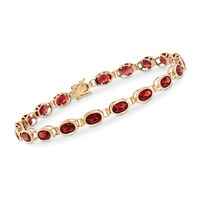 11.59 ct. t.w. Garnet Bezel-Set Bracelet in 14kt Yellow Gold. 7""
