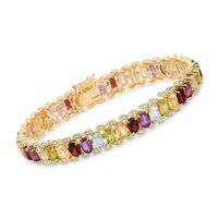 18.00 ct. t.w. Multi-Stone Bracelet With Diamond Accent in Two-Tone Sterling..