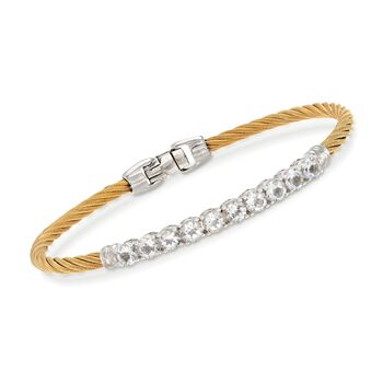 """ALOR Burano 3.00 Carat Total Weight White Topaz Yellow Cable Bracelet With 14-Karat White Gold. 7"""""""
