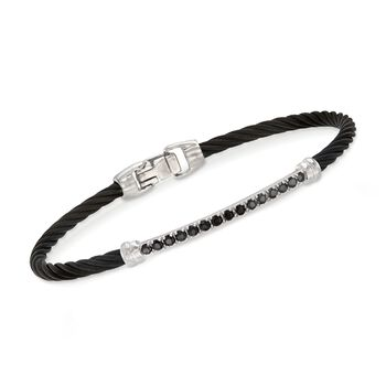 ALOR Burano Black Onyx Black Cable Bracelet With 14-Karat White Gold. 7""