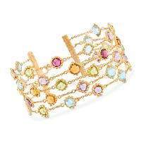 23.70 ct. t.w. Multi-Stone Beaded Multi-Row Bracelet in 18kt Gold Over Sterl..