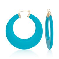 """Large Turquoise Hoop Earrings in 14kt Yellow Gold. 1 7/8"""""""