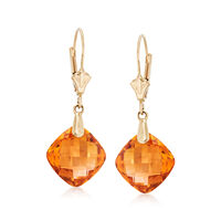 7.60 ct. t.w. Citrine Drop Earrings in 14kt Yellow Gold