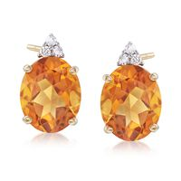 4.95 ct. t.w. Citrine and .12 ct. t.w. Diamond Earrings in 14kt Yellow Gold