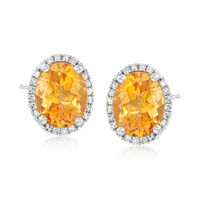 3.30 ct. t.w. Citrine Stud Earrings With .10 ct. t.w. Diamonds in 14kt White..