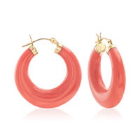 Coral Hoop Earrings in 14kt Yellow Gold. 1 1/8""
