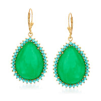 Jade and Turquoise Drop Earrings in 14kt Gold Over Sterling