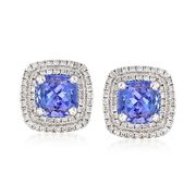 2.40 Carat Total Weight Tanzanite and .40 Carat Total Weight Diamond Studs in 14-Karat White Gold
