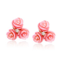 Pink Carved Coral and .20 ct. t.w. White Topaz Floral Earrings in 14kt Gold ..