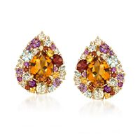 3.00 ct. t.w. Citrine and 2.80 ct. t.w. Multi-Stone Earrings in 14kt Yellow ..