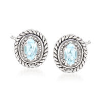 .20 ct. t.w. Aquamarine Frame Earrings With Diamond Accents in Sterling Silv..