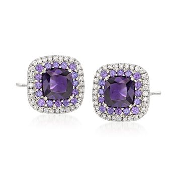 Gregg Ruth 2.19 Carat Total Weight Amethyst and .31 Carat Total Weight Diamond Frame Earrings in 18-Karat White Gold