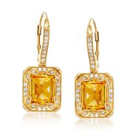 6.00 ct. t.w. Citrine and .30 ct. t.w. White Topaz Earrings With Diamonds in..