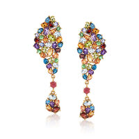 13.60 ct. t.w. Multi-Stone Cluster Drop Earrings in 14kt Gold Over Sterling