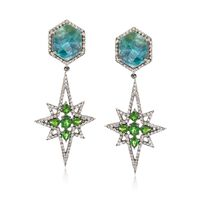 20.00 ct. t.w. Green Corundum and 2.40 ct. t.w. Green Diopside Starburst Ear..