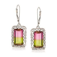 9.50 ct. t.w. Watermelon Quartz Triplet Swirl Drop Earrings in Sterling Silver