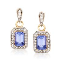 1.10 ct. t.w. Tanzanite and .25 ct. t.w. Diamond Drop Earrings in 14kt Yello..