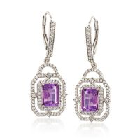 2.40 ct. t.w. Amethyst and 1.40 ct. t.w. White Topaz Drop Earrings in Sterli..