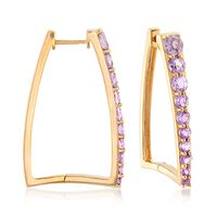 1.70 ct. t.w. Amethyst Graduated Square Hoop Earrings in 18kt Yellow Gold Ov..