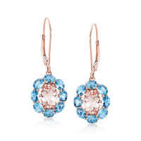 2.10 ct. t.w. Morganite and 2.70 ct. t.w. Santa Maria Aquamarine Drop Earrin..
