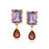 6.00 ct. t.w. Amethyst and 3.00 ct. t.w. Garnet Earrings in 18kt Gold Over S..