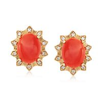 Coral and .14 ct. t.w. Diamond Stud Earrings in 18kt Yellow Gold