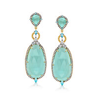 Aqua Chalcedony and 2.60 ct. t.w. Blue and White Topaz Drop Earrings in 18kt..