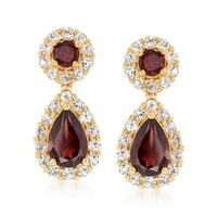 3.60 ct. t.w. Garnet and 1.40 ct. t.w. White Topaz Earrings in 18kt Gold Ove..