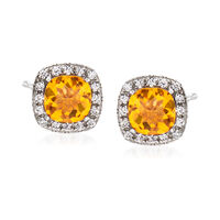 "Image of "".10 ct. t.w. Citrine and .10 ct. t.w. White Topaz Stud Earrings Sterling Silver"""