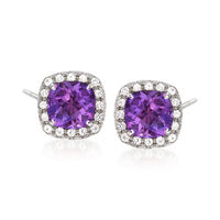 "Image of "".10 ct. t.w. Amethyst and .10 ct. t.w. White Topaz Stud Earrings in Sterling Silver"""