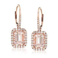 4.20 ct. t.w. Morganite and .78 ct. t.w. Diamond Drop Earrings in 14kt Rose ..