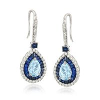 3.00 ct. t.w. Multi-Stone and .95 ct. t.w. Diamond Drop Earrings in 14kt Whi..