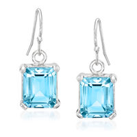6.50 ct. t.w. Emerald-Cut Blue Topaz Drop Earrings in Sterling Silver