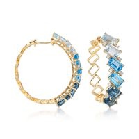 8.60 ct. t.w. London, Swiss and Sky Blue Topaz and .16 ct. t.w. Diamond Hoop..