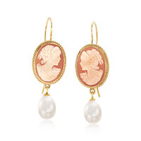 Italian Shell Cameo and 8.5mm Cultured Pearl Drop Earrings in 18kt Gold Over..