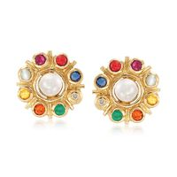 5mm Cultured Button Pearl and .50 ct. t.w. Multi-Stone Earrings in 18kt Gold Over Sterling