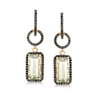 8.00 ct. t.w. Green Prasiolite and 1.00 ct. t.w. Black Spinel Drop Earrings ..