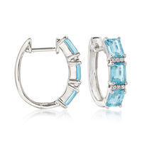 2.50 ct. t.w. Aquamarine Huggie Hoop Earrings With Diamond Accents in 14kt W..