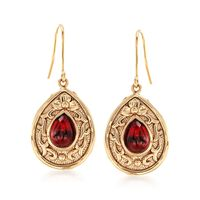 4.30 ct. t.w. Garnet Floral Scroll Drop Earrings in 14kt Yellow Gold