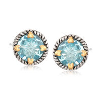 6.75 ct. t.w. Blue Topaz Rope Frame Earrings With Hearts in Two-Tone Sterlin..