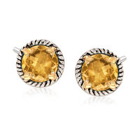 6.75 ct. t.w. Citrine Rope Frame Earrings With Hearts in Two-Tone Sterling S..