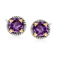 6.75 ct. t.w. Amethyst Rope Frame Earrings With Hearts in Two-Tone Sterling ..