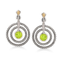 1.70 ct. t.w. Peridot and Multi-Circle Drop Earrings in Sterling Silver and ..