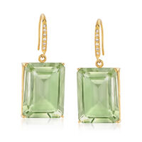 35.00 ct. t.w. Emerald-Cut Green Prasiolite and .10 ct. t.w. Diamond Earring..