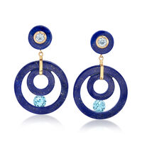 Lapis and 4.30 ct. t.w. Blue Topaz Open-Circle Drop Earrings in 14kt Yellow ..