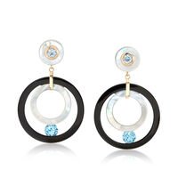 Mother-Of-Pearl and Black Onyx Open-Circle Drop Earrings With Blue Topaz in ..