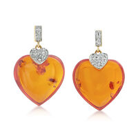 Amber and Diamond-Accented Heart Drop Earrings in 14kt Yellow Gold