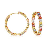 11.00 ct. t.w. Multicolored Sapphire and .44 ct. t.w. Diamond Inside-Outside Hoop Earrings in 18kt Yellow Gold. 1 1/4""