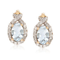 .70 ct. t.w. Aquamarine and .21 ct. t.w. Diamond Drop Earrings in 14kt Yello..